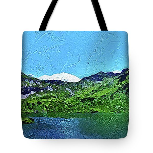 Tote Bag featuring the painting Alpine Lake by PixBreak Art