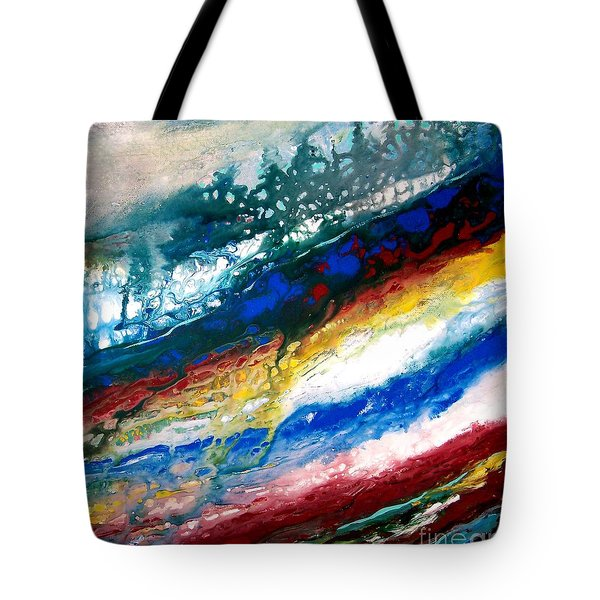 Tote Bag featuring the painting Alpine River Run by Patricia L Davidson