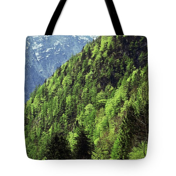 Alpine View In Green Tote Bag by Brooke T Ryan