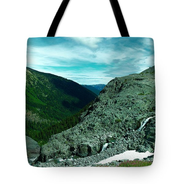 Alpine Waterfall Tote Bag