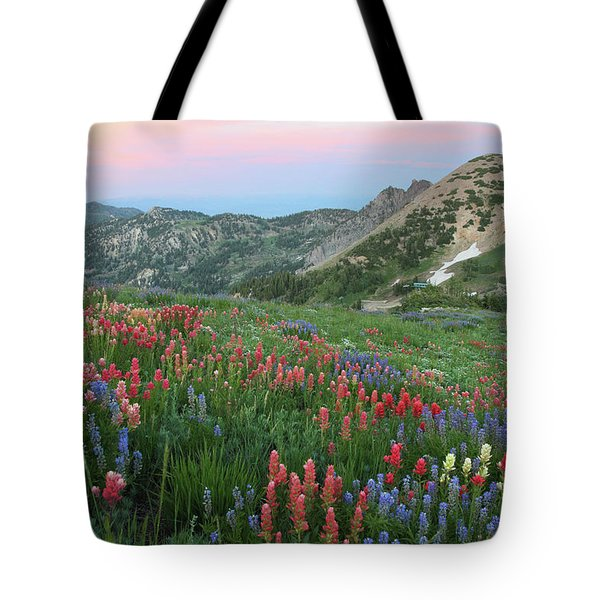 Alpine Wildflowers And View At Sunset Tote Bag by Brett Pelletier