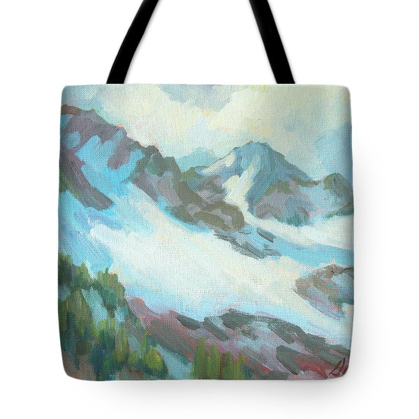 Tote Bag featuring the painting Alps In Switzerland by Diane McClary