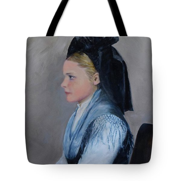 Tote Bag featuring the painting Alsatian Woman On Ellis Island by Sandra Nardone