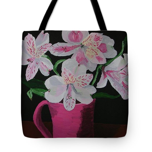 Tote Bag featuring the painting Alstroemeria In Mug by Joshua Redman