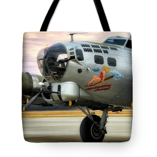 Tote Bag featuring the photograph Aluminum Overcast - B-17 - World War II by Jason Politte