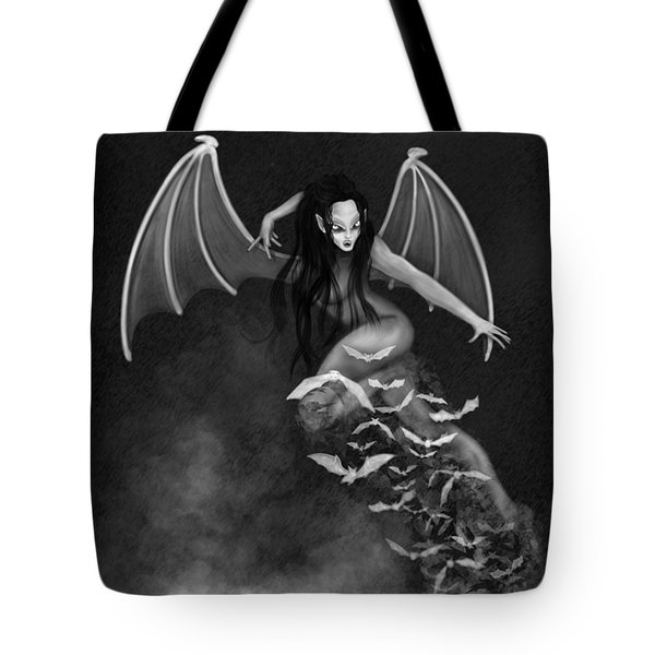 Always Awake - Black And White Fantasy Art Tote Bag
