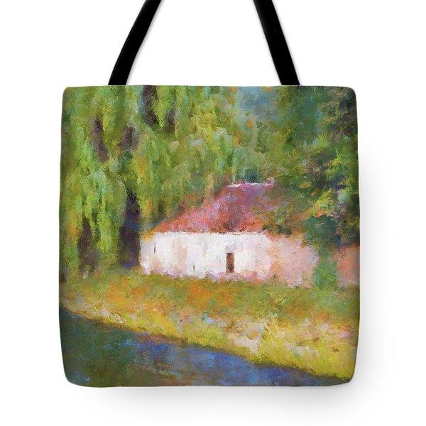 Tote Bag featuring the painting Am Fluss In Sentfenberg Wachau by Menega Sabidussi