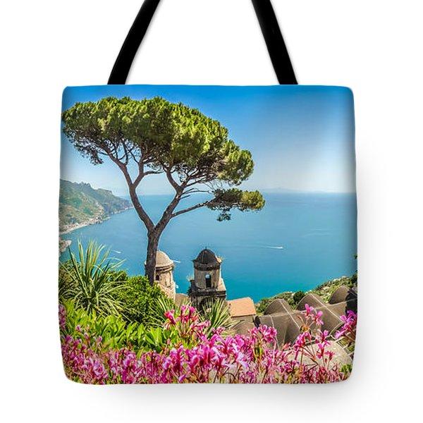 Amalfi Coast From Villa Rufolo Gardens In Ravello, Campania, Ita Tote Bag