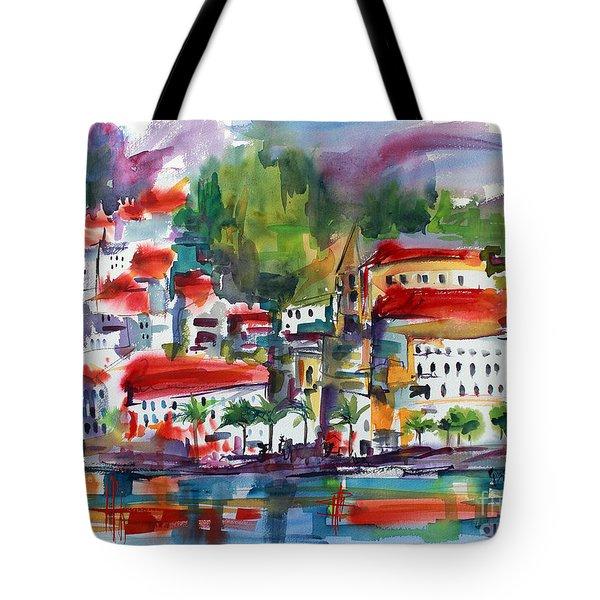 Amalfi Coast Italy Expressive Watercolor Tote Bag