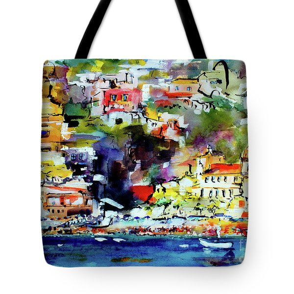 Amalfi Coast Positano Summer Vibrations Tote Bag