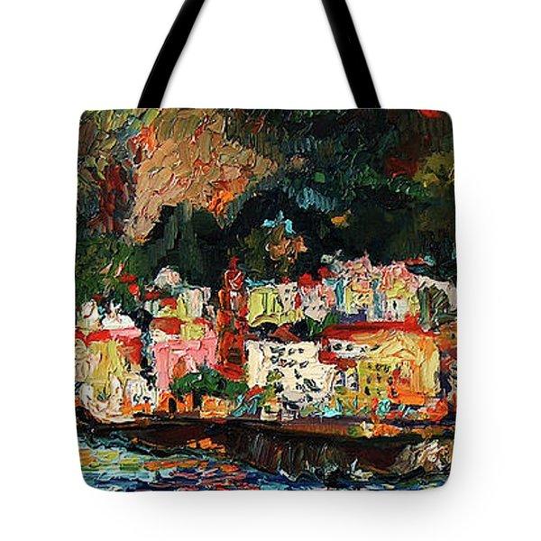 Amalfi Italy Panorama Impressionist Oil Painting Tote Bag