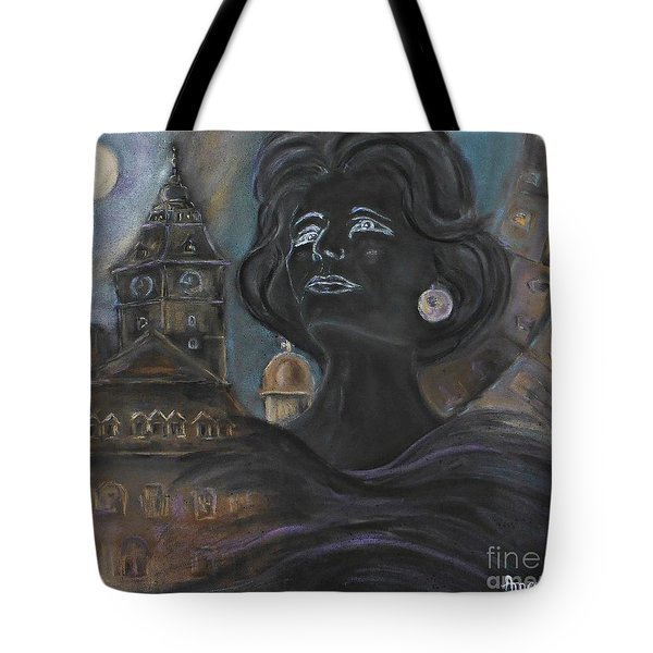 Tote Bag featuring the painting Amalia Rodrigues Tribute by AmaS Art