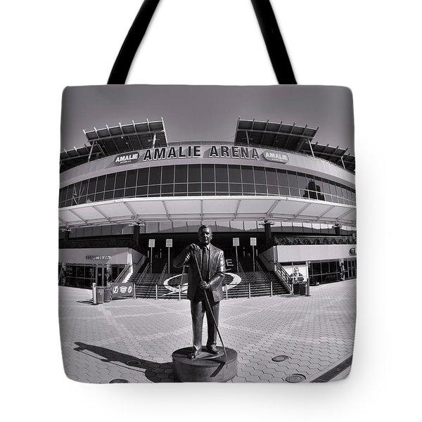Amalie Arena Black And White Tote Bag