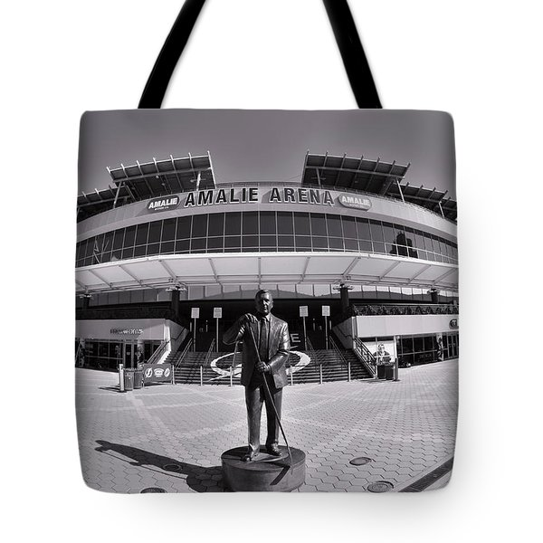 Tote Bag featuring the photograph Amalie Arena Black And White by Lisa Wooten