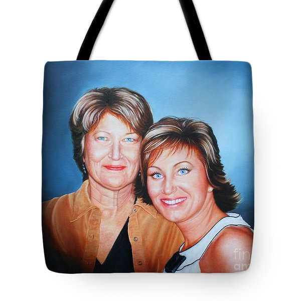 Tote Bag featuring the painting Amanda And Mom by Mike Ivey