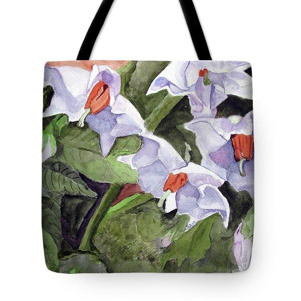 Amanda's Blue Potato Flowers Tote Bag