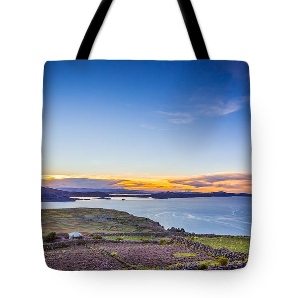 Tote Bag featuring the photograph Amantani Sunset by Gary Gillette