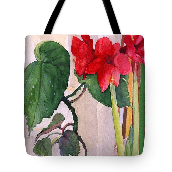 Tote Bag featuring the painting Amaryllis And Begonia by Nancy Watson