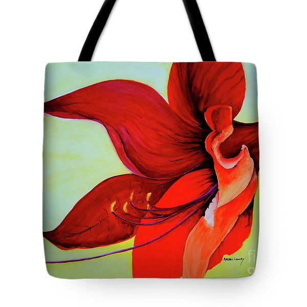 Tote Bag featuring the painting Amaryllis Blossom by Rachel Lowry