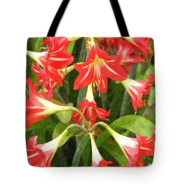 Amaryllis Lily Bunch Tote Bag