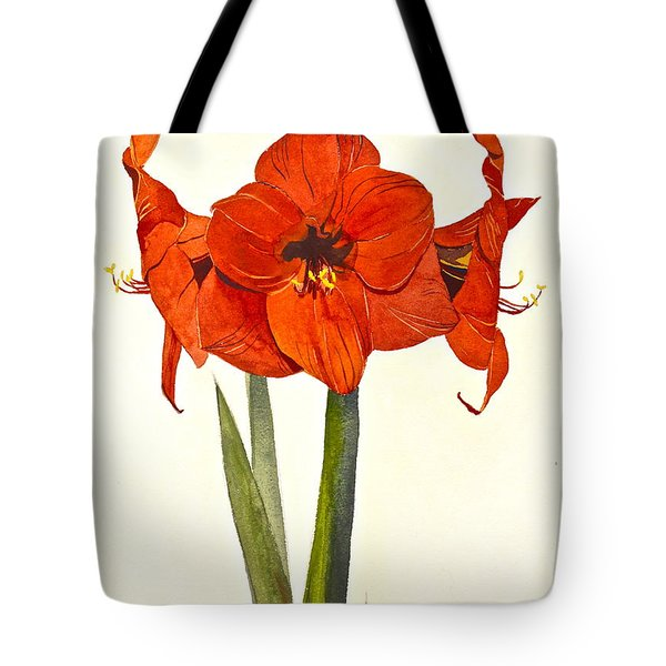 Tote Bag featuring the painting Amaryllis- Posthumously Presented Paintings Of Sachi Spohn  by Cliff Spohn