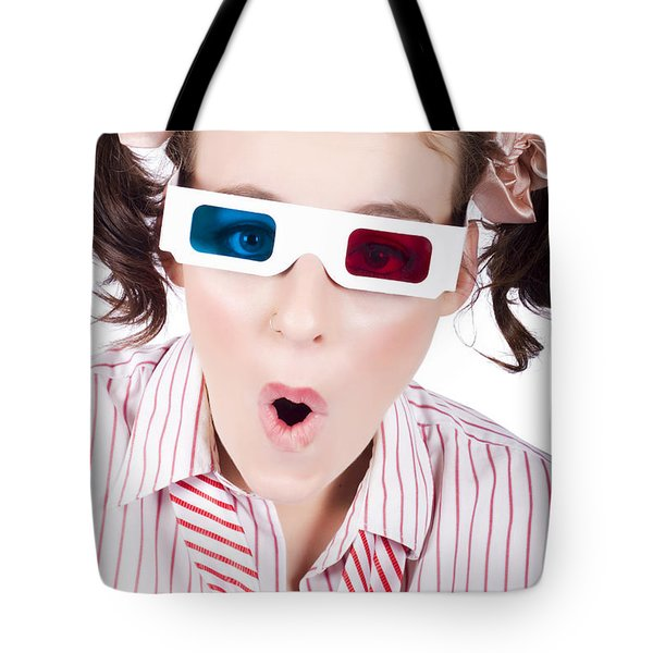 Amazed Woman Watching 3d Movie In Glasses Tote Bag
