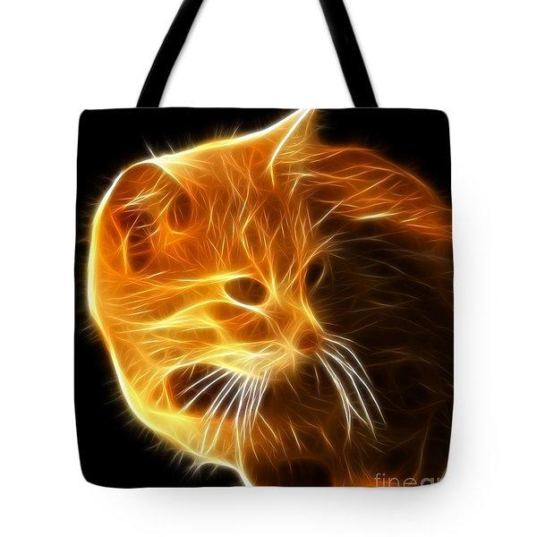 Amazing Cat Portrait Tote Bag by Pamela Johnson