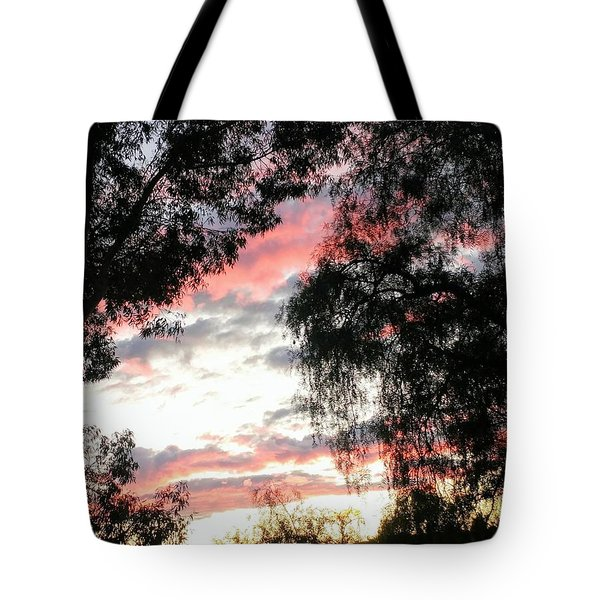 Amazing Clouds Black Trees Tote Bag