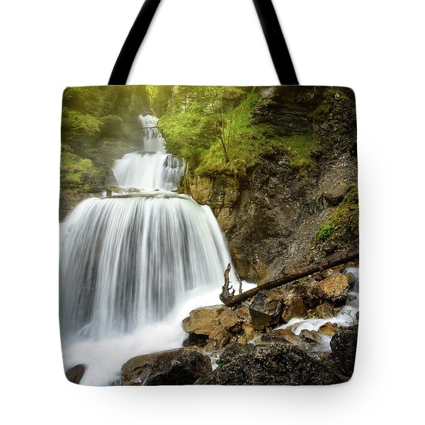 Amazing Mountain Waterfall Near Farchant Village At Garmisch Partenkirchen, Farchant, Bavaria, Germany. Tote Bag