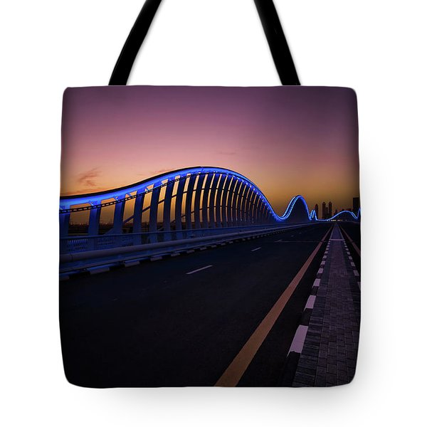 Amazing Night Dubai Vip Bridge With Beautiful Sunset. Private Ro Tote Bag