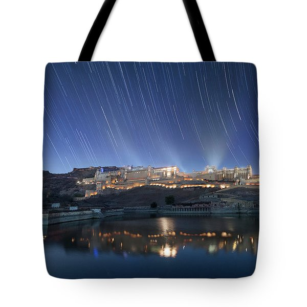 Tote Bag featuring the photograph Amber Fort After Sunset by Pradeep Raja Prints