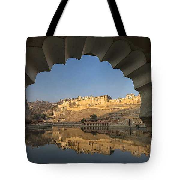 Tote Bag featuring the photograph Amber Fort Reflection by Yew Kwang