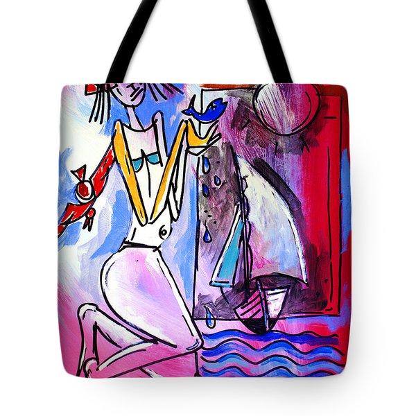 Ameeba- Woman And Sailboat Tote Bag