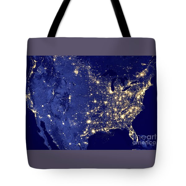 America By Night Tote Bag by Delphimages Photo Creations