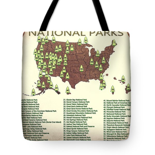 America National Parks Map Tote Bag