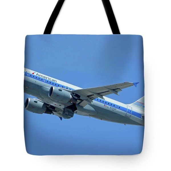 American Airbus A319-0112 N744p Piedmont Pacemaker Los Angeles International Airport May 3 20 Tote Bag by Brian Lockett
