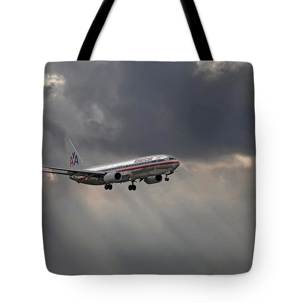 American Aircraft Landing After The Rain. Miami. Fl. Usa Tote Bag