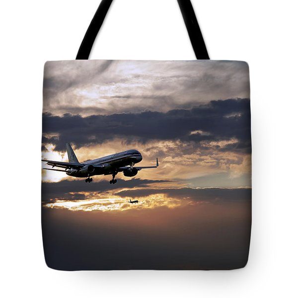 American Aircraft Landing At The Twilight. Miami. Fl. Usa Tote Bag
