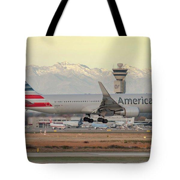 American Airline Boeing B767 Landing At Milano Malpensa Airport Tote Bag