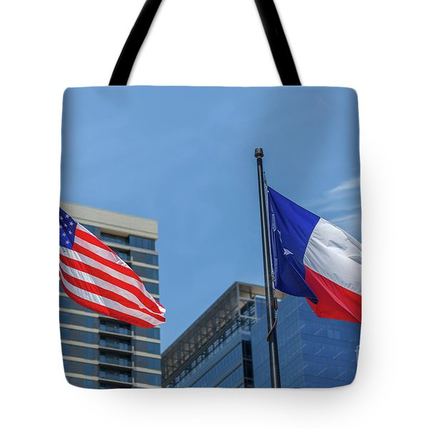 American And Texas Flag On Top Of The Pole Tote Bag