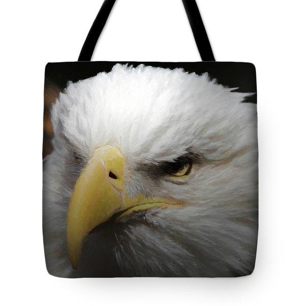 Tote Bag featuring the digital art American Bald Eagle Portrait 3 by Ernie Echols