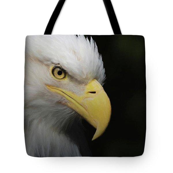 Tote Bag featuring the digital art American Bald Eagle Portrait 4 by Ernie Echols