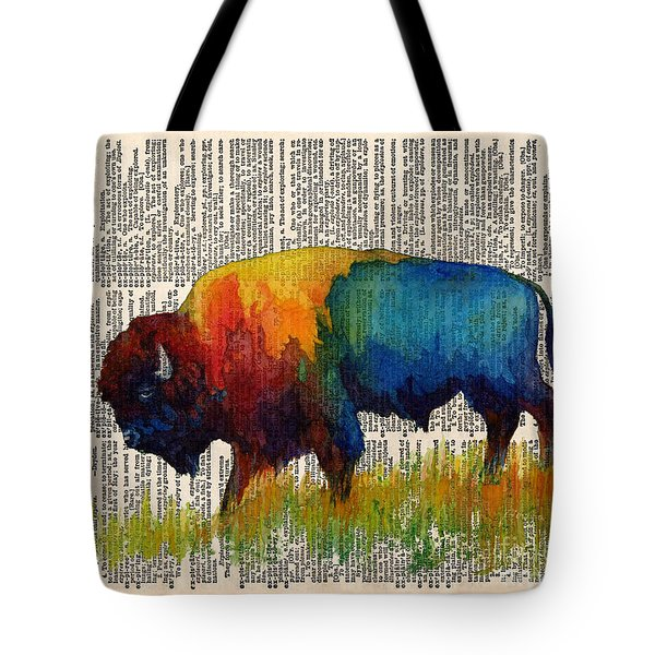American Buffalo IIi On Vintage Dictionary Tote Bag by Hailey E Herrera