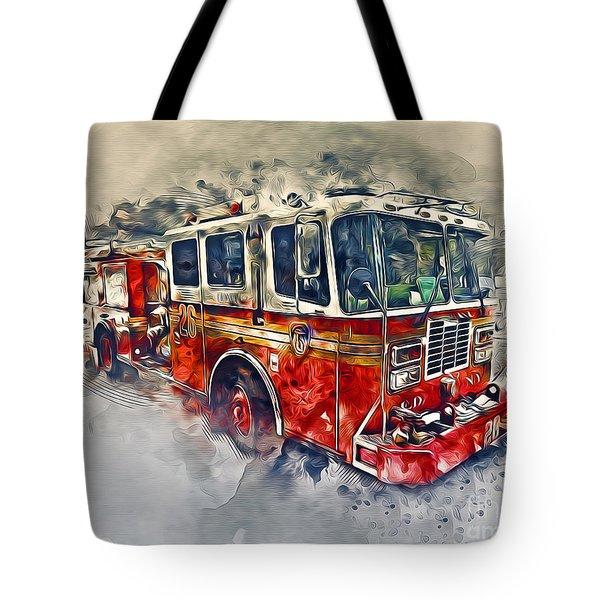 American Fire Truck Tote Bag