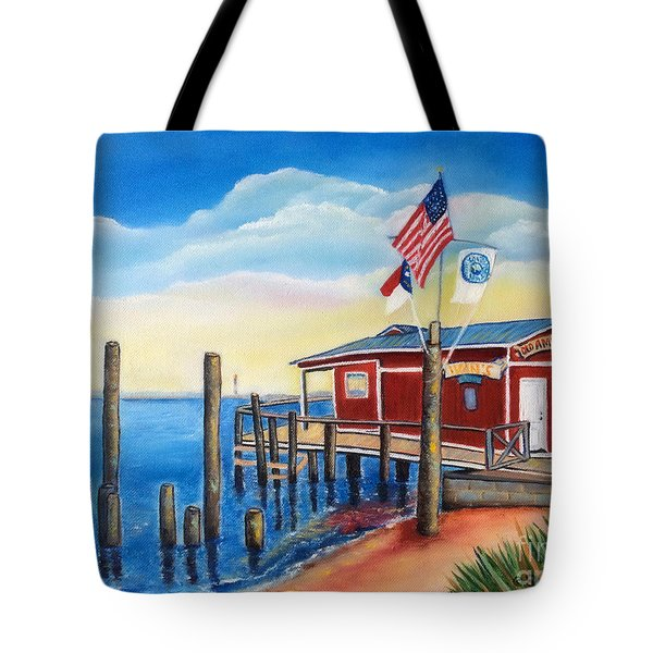 Tote Bag featuring the painting Old American Fish Co./ Safe Haven Ivan's by Shelia Kempf