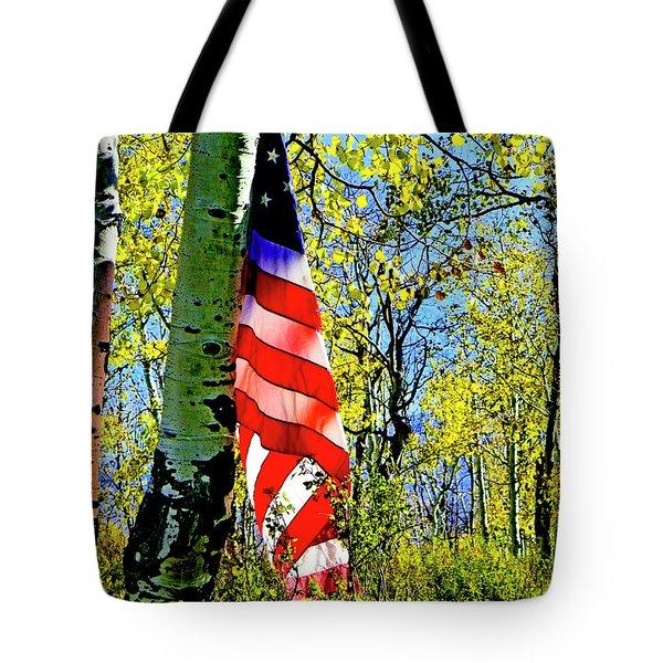 American Flag A Veteran Hunters Homage Tote Bag