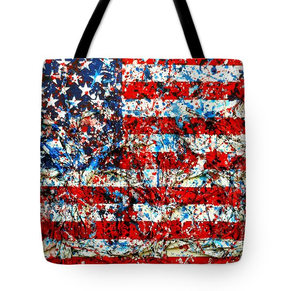 Tote Bag featuring the painting American Flag Abstract With Trees by Genevieve Esson