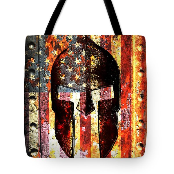 American Flag And Spartan Helmet On Rusted Metal Door - Molon Labe Tote Bag