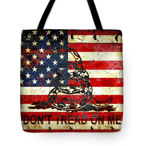 American Flag And Viper On Rusted Metal Door - Don't Tread On Me Tote Bag by M L C