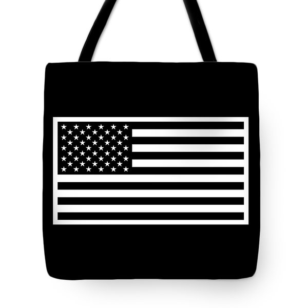 American Flag - Black And White Version Tote Bag